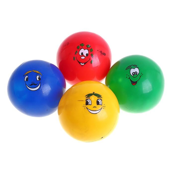 Мячик цветной с мордочкой пластизоль d=12 см, цвета МИКС
