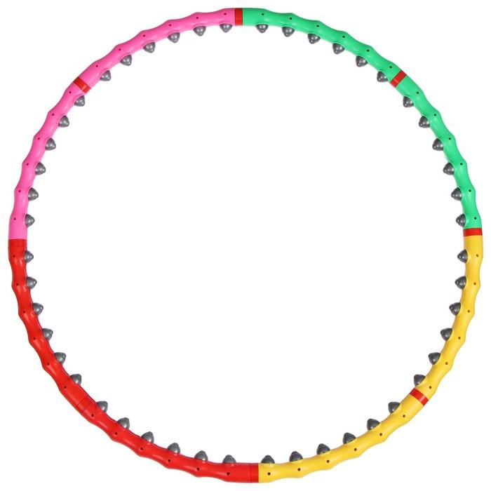 Обруч с резиновыми шипами, разборный, 98 см, цвет МИКС