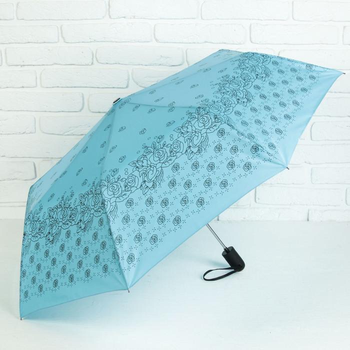 Зонт полуавтоматический «Розочки», 3 сложения, 8 спиц, R = 55 см, цвет голубой