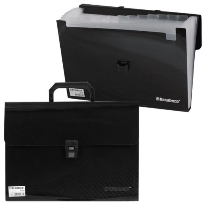 Портфель пластиковый А4, 332х245х35мм, диагональная фактура, 13 отделений, пластиковый индекс, черный