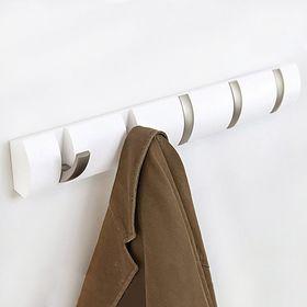Вешалка настенная горизонтальная Flip, 5 крючков, белая