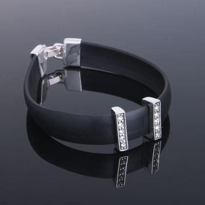 """Браслет """"Унле"""", цвет белый в чернёном серебре"""