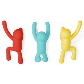 Вешалки-крючки Buddy, 3 шт, разноцветные