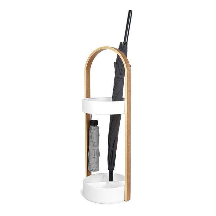 Подставка для зонтов Hub, белая, натуральное дерево
