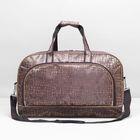 Сумка дорожная на молнии, 1 отдел, 2 наружных кармана, длинный ремень, цвет коричневый
