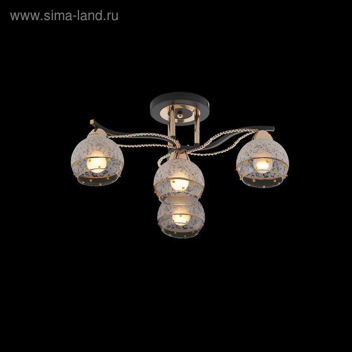 """Люстра еврокаркас """"Гелла"""" 4 лампы 60W Е27 черный/золото 56х25 см"""