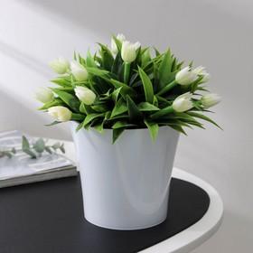 Кашпо со вставкой «Арте», 1,2 л, цвет бело-чёрный
