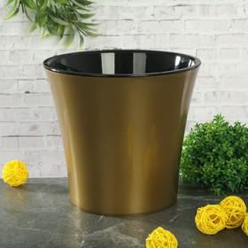 Кашпо со вставкой «Арте», 2 л, цвет золото-чёрный