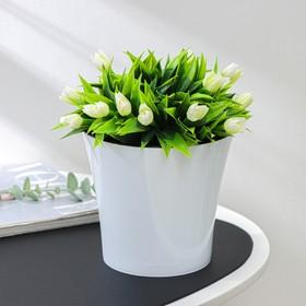 Кашпо со вставкой «Арте», 2 л, цвет бело-чёрный