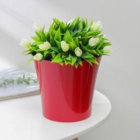 Кашпо со вставкой «Арте», 2 л, цвет красно-чёрный