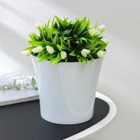 Кашпо со вставкой «Арте», 3,5 л, цвет бело-чёрный