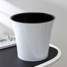 Кашпо со вставкой «Арте», 5 л, цвет бело-чёрный