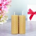 """Набор свечей из вощины медовой с добавлением эфирного масла """"Апельсин"""" 8 см, 2 шт"""
