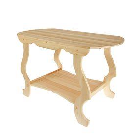 Стол с фигурными ножками с полкой 1200*630*730, липа ПРОМО