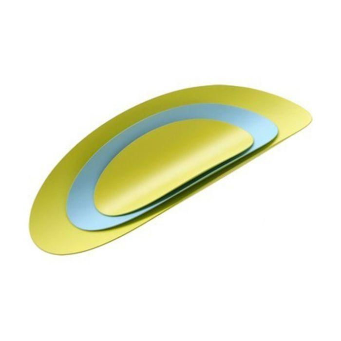 Набор из 3х стальных блюд Ellipse, бирюзовый, жёлтый