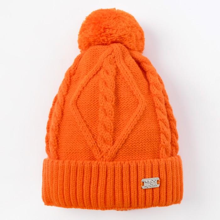 Шапка для девочки, размер 48-50, цвет оранжевый Cd-780_М