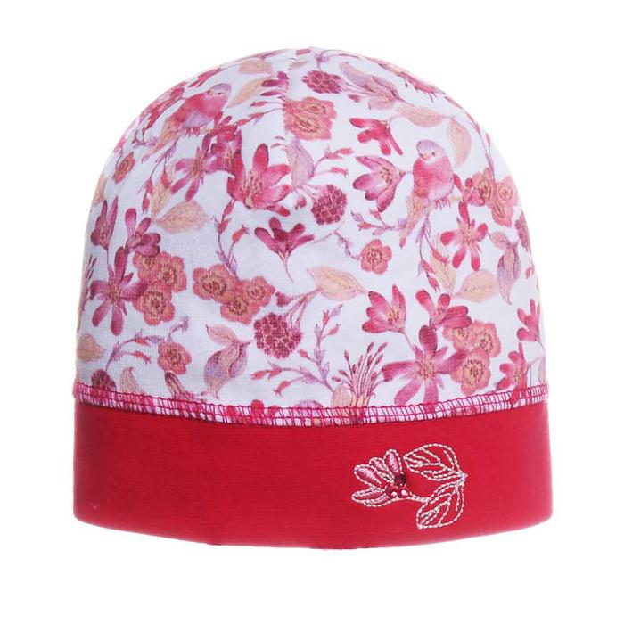 """Шапка для девочки """"Райский сад"""", размер 42-44, цвет малиновый P-274 _М"""