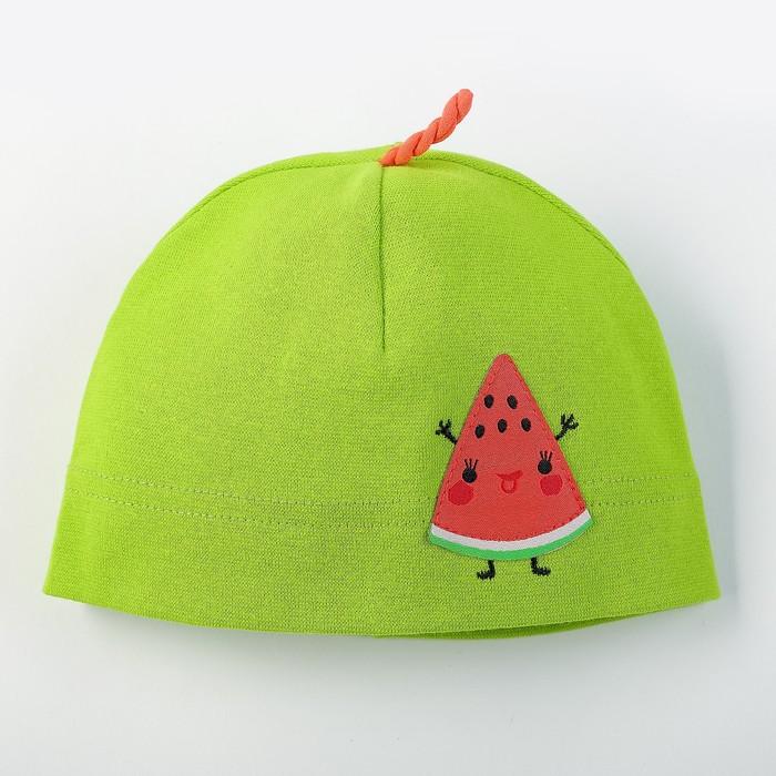 """Шапка для девочки """"Фруктисы"""", размер 40-42, цвет зелёный P-289-01 _М"""