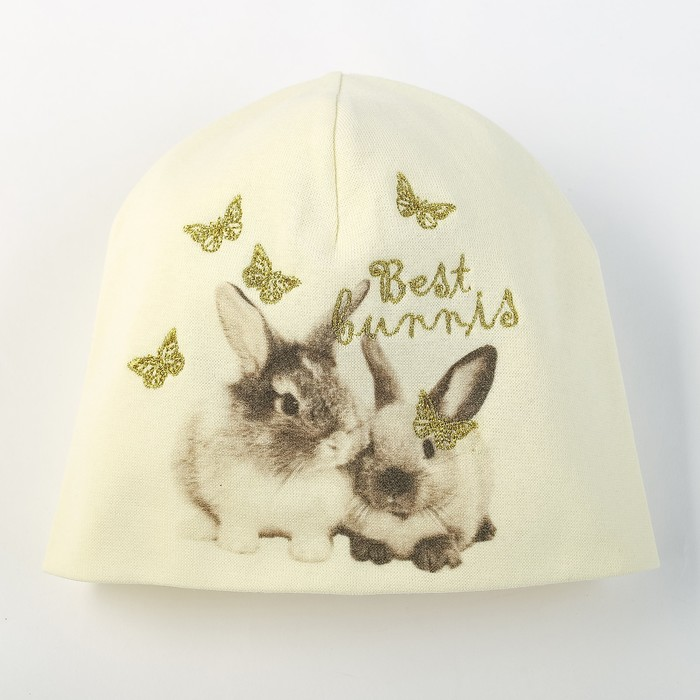 """Шапка для девочки """"Кролики"""", размер 44-46, цвет молочный P-291 _М"""