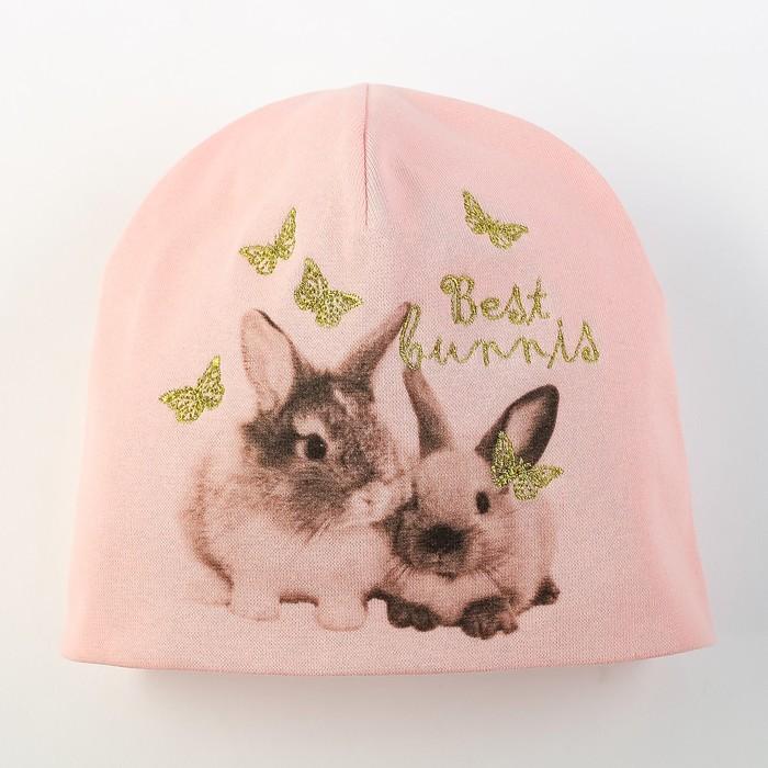 """Шапка для девочки """"Кролики"""", размер 44-46, цвет розовый P-291 _М"""