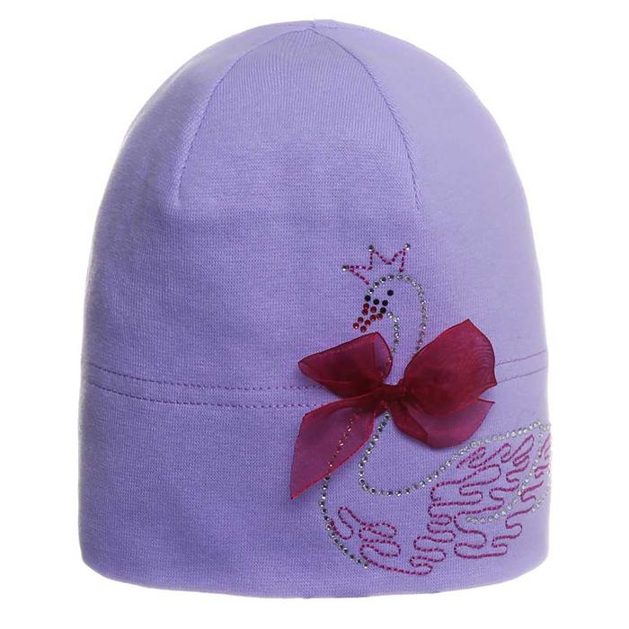 """Шапка для девочки """"Лебедь"""", размер 44-46, цвет сиреневый P-301 _М"""