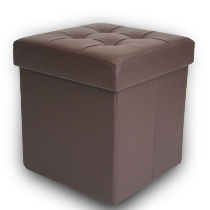 Пуфик складной, коричневый, экокожа