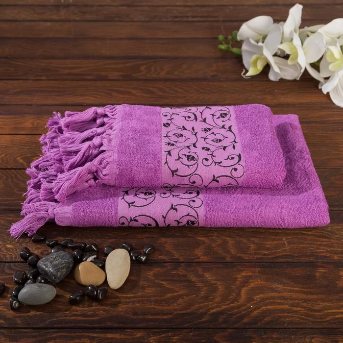 Комплект махровых полотенец в коробке Fidan Classik 50х90, 70х130 см, фиолетовый