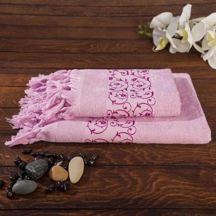 Комплект махровых полотенец в коробке Fidan Classik 50х90, 70х130 см, черника
