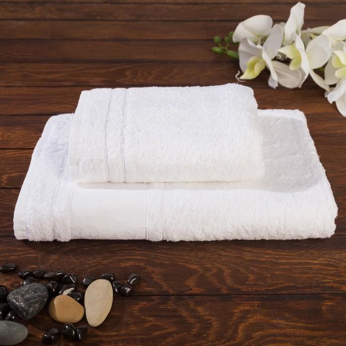 Комплект махровых полотенец Elegan 50х90, 70х140 см, цвет белый, бамбук