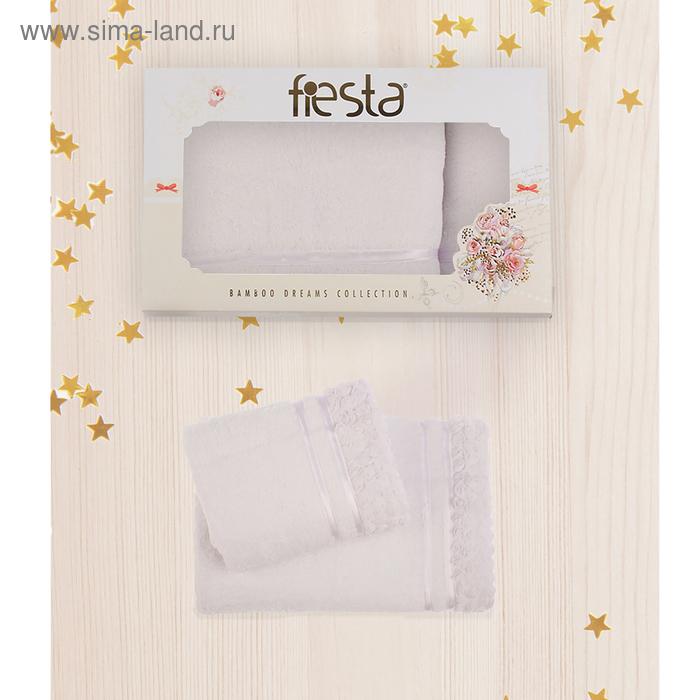 """КМП в коробке Fiesta """"Roses"""" (50х90+70х140), цв.белый, бамбук 100%, 500г/м"""