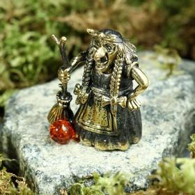 Колокольчик сувенирный «Баба Яга», латунь, янтарь, 3 × 4 см в Донецке