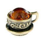"""Сувенир из латуни и янтаря """"Чашечка маленькая"""""""