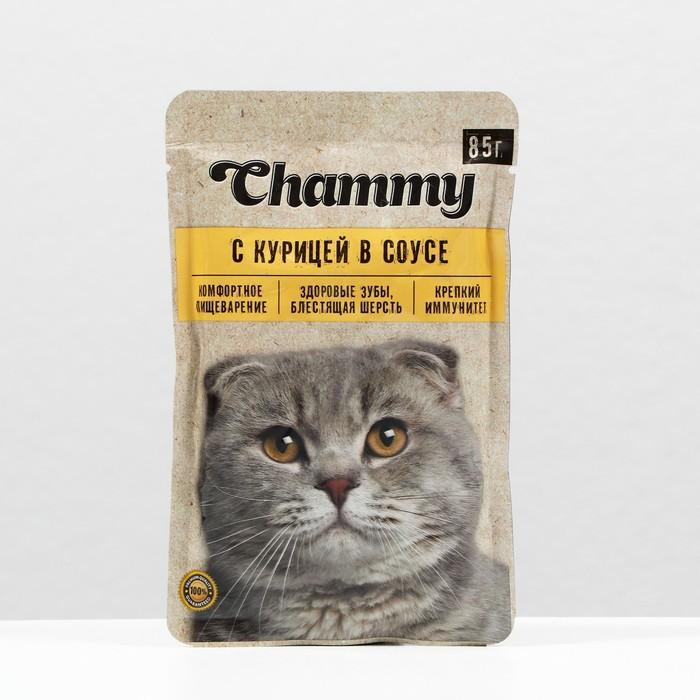 Влажный корм Chammy для кошек, курица, кусочки в соусе, пауч, 85 г - фото 1783138