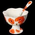 Набор посуды: креманка, ложка, 10,5x10,5x8,5 см