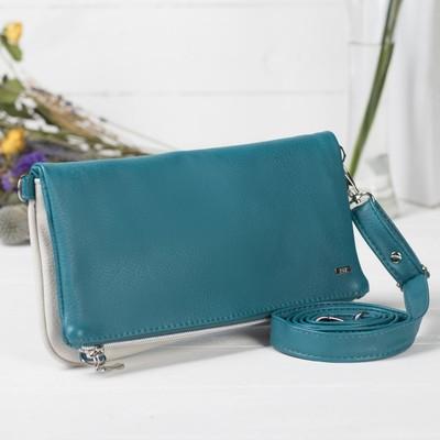 Сумка женская на молнии, 1 отдел, наружный карман, регулируемый ремень, цвет синий/белый