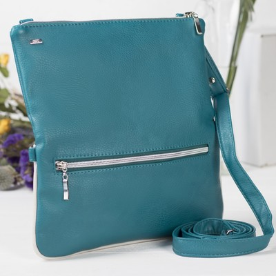 Сумка женская на молнии, 1 отдел, наружный карман, регулируемый ремень, цвет голубой/белый