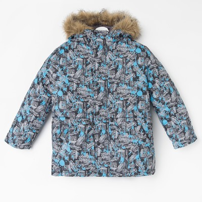 Костюм для мальчика (куртка, полукомбинезон), рост 152 см, принт серый КМ-55