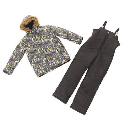 Костюм для мальчика (куртка, полукомбинезон), рост 158 см, принт чёрный КМ-68