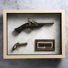 Gun, 2in1, in the frame structure of wood, a bullet, on the world map, 39*49cm