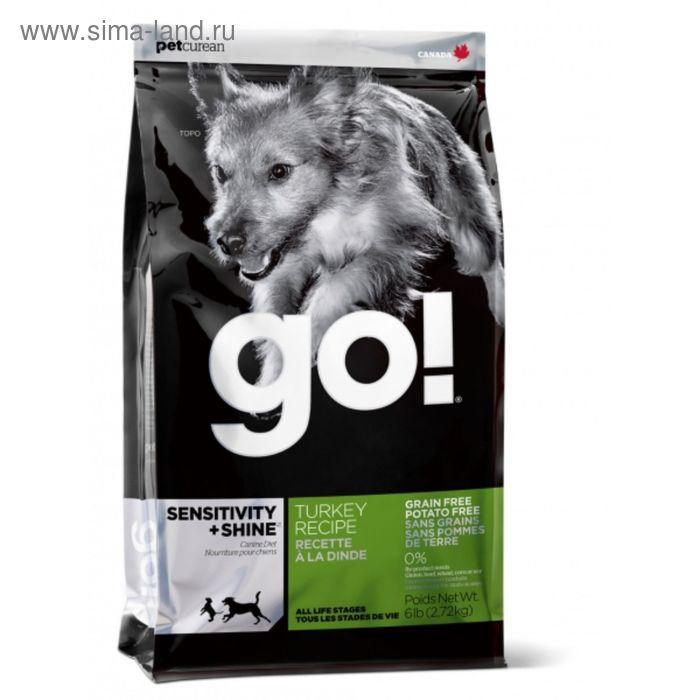 Корм беззерновой GO! для щенков и собак, с индейкой для чувствительного пищ-я, 11,35 кг.
