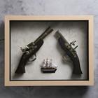 Изделие в раме, структура дерево, корабль, мушкет, пистолет, 39*49см