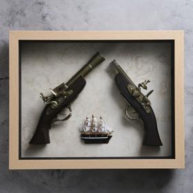 Изделие в раме, структура дерево, корабль, мушкет, пистолет, 39х49 см