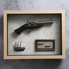 The product in the frame structure of a tree, a ship, a gun, bullets, 39*49cm
