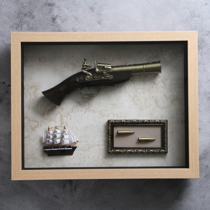 Изделие в раме, структура дерево, корабль, пистолет, пули, 39х49 см