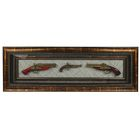 The product in the frame, baguette, gold, set of 3pcs guns, 42*124cm