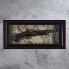 The gun in the frame, baguette classic, the spare, on the world map 28*57cm
