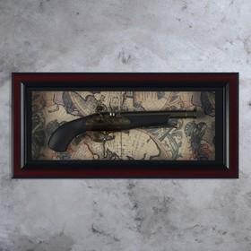 Ружье в раме, багет классика, обрез, на карте мира, 28х57 см