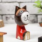 """Сувенир """"Кошка сидячая в красном"""" дерево 12 см"""