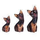 """Набор """"Кошки с красными мордочками"""" дерево 8,10,12 см"""