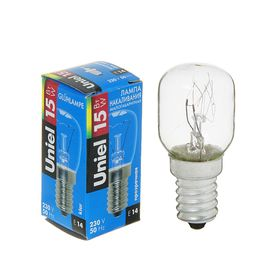 Лампа накаливания Uniel для холодильников, Е14, 15 Вт, 220 В, прозрачная
